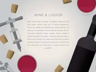 红葡萄酒或白酒塞与玻璃和开瓶器