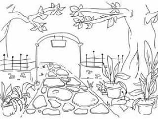 不可思议的花园大门线艺术插图
