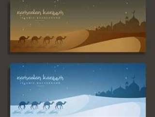 斋月贾巴尔伊斯兰横幅与骆驼和清真寺
