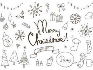 圣诞节可爱的手写的白色