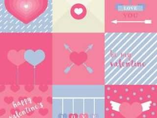 粉红色的平的可爱的情人节卡