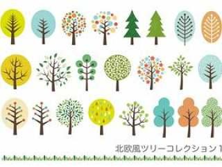 斯堪的纳维亚树插图&边界