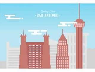 圣安东尼奥明信片矢量图