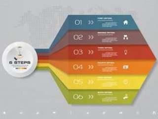 6个步骤箭头模板图表的演示文稿。