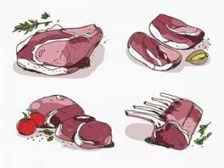 新鲜小牛肉手拉的传染媒介例证