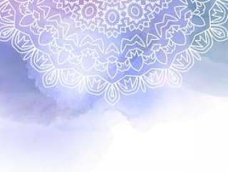 在水彩背景上的装饰曼荼罗设计