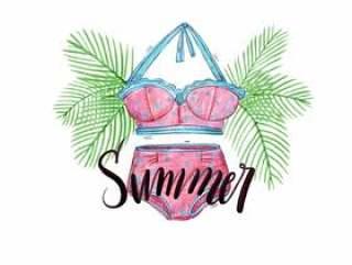 矢量水彩棕榈树和刻字与暑假泳装