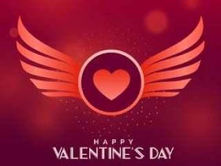 情人节' s天矢量设计与翅膀和心