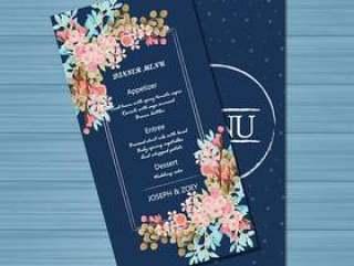 与美丽的花的海军婚礼菜单卡片