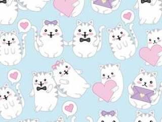 卡哇伊可爱的猫咪讲话泡泡爱心壁纸