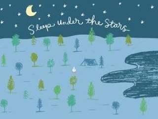 睡在星空下露营的插图