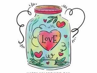 可爱的罐子里面的心,叶子和饰品
