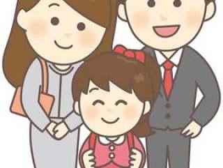 与父母和孩子(小学女孩)纪念照片