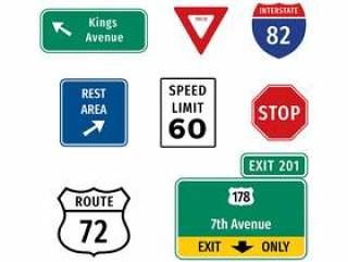 公路标志 矢量