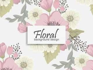 与花和叶子的百花香传染媒介样式