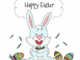 复活节兔子有五颜六色的鸡蛋背景