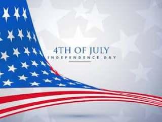 波浪风格的美国国旗。 7月4日的背景