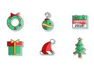 圣诞快乐和新年快乐2018年 矢量包