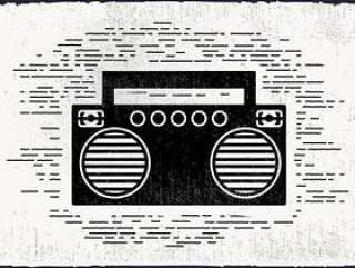 的复古音乐播放器矢量图