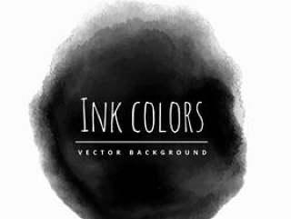 黑色墨水背景污点矢量设计插画