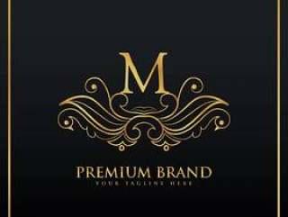 用花卉风格制作的优雅金色高档品牌标志概念