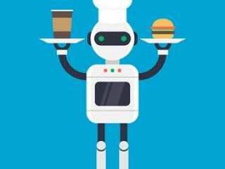 现代厨师机器人机制矢量图