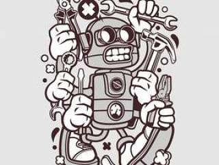 工具机器人卡通