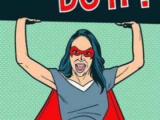 超级英雄服装的超级女人