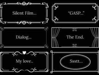 无声的电影对话模板矢量