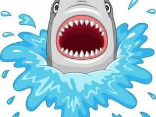 与在白色背景隔绝的开放下颌的动画片鲨鱼