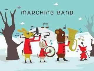 动物游行乐队字符向量