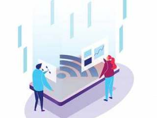 Mobile internet of things application user infographics isometric tiny people
