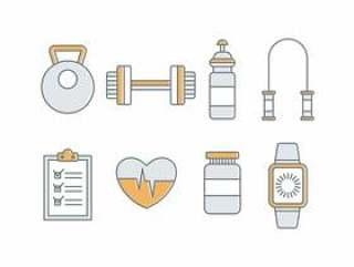 健身和健身房矢量图标