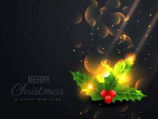 与美丽闪亮圣诞树叶的黑色背景
