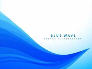 蓝色波浪线条流畅背景设计