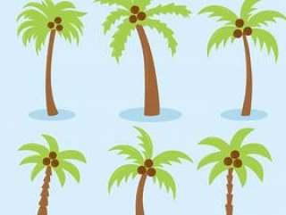 在蓝色传染媒介的棕榈树