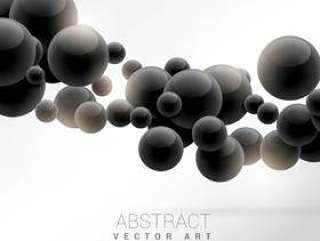 抽象的黑色浮动分子矢量背景
