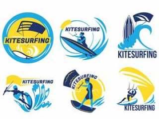 风筝在蓝色的海上矢量徽章冲浪一套