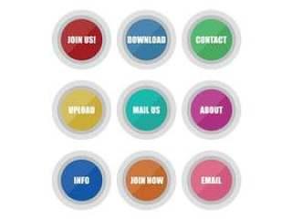 多彩的按钮矢量包
