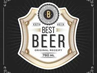 啤酒的经典葡萄酒框架标记横幅