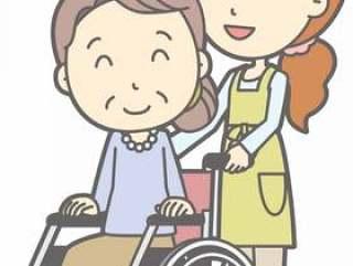 围裙家庭主妇b - 轮椅推 - 全身