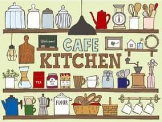 咖啡厅厨房书架手绘彩色