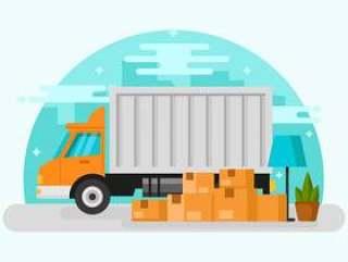 移动的卡车概念背景