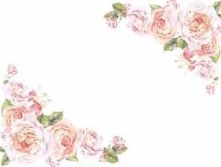 花框架145 - Oya的柔和的颜色玫瑰的花框架
