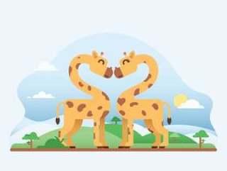 在爱的可爱长颈鹿