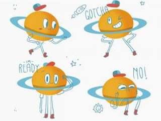 可爱的土星行星字符涂鸦矢量图
