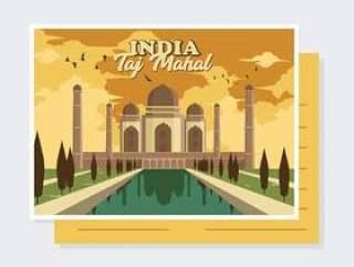 印度明信片矢量