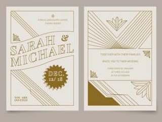 布朗老式艺术装饰婚礼邀请矢量模板