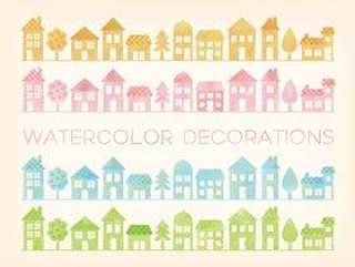 水彩触摸房子图