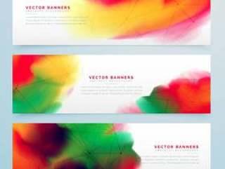时尚多彩的水彩横幅集设计